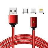 Lively Life Magnetico Cavo USB, Micro USB + Lightening + USB Tipo C Cavo Ricarica Adattatore di Sincronizzazione ad Alta velocità Cavo per Phone Dispositivi e Altro 3.3ft/1m Rosso