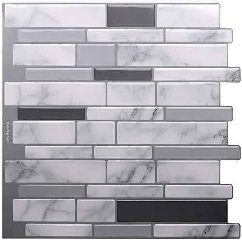 STICKGOO Premium Anti Mold Peel and Stick Tile Backsplash, Stick On Backsplash Wall Tiles for Kitchen & Bathroom-Removable, Self adhesive-10.62'x 10' (6 Sheets)