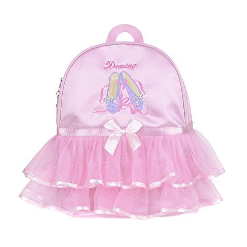besbomig Bolsa de Baile de Ballet Rosa Mochila de Satén con Patrón Bordado Bailarina Bolsas de Gimnasia Niñas Infantil Backpack Mochilas para Danza Deportiva