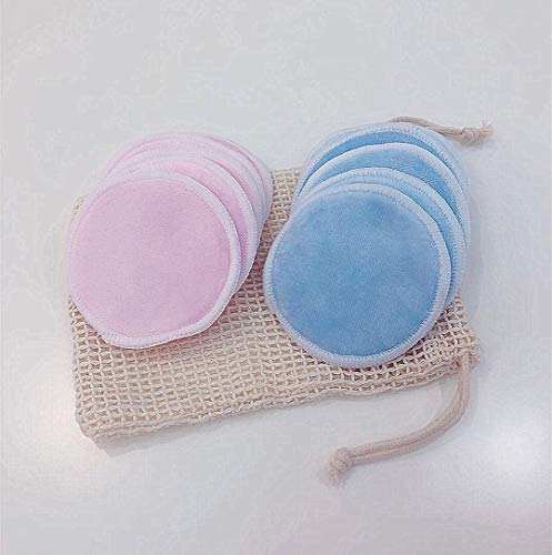 MeterMall Fashion For Reusable Makeup Remover Pads Organic Bamboo Cotton Rounds Face Toner Pads Soft Cleansing Towel Wipes Pink 5+ blue 5+ cotton mesh bag