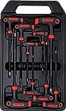Kraftmann 7880 | Juego de destornilladores con empuñadura en T | perfil en T (para Torx) con perforación | T10 - T50 | 9 piezas