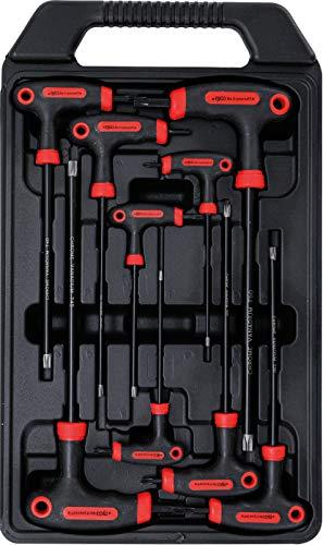 Kraftmann 7880 | Schraubendreher-Satz mit T-Griff und seitlicher Klinge | T-Profil (für Torx) mit Bohrung | T10 - T50 | 9-tlg.