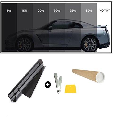 flexzon 76cm x 3 Metri Pellicola Oscurante per VETRI, Auto, Nero 15% VLT (Nero Scuro)