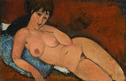 Berkin Arts Amedeo Modigliani Giclee Lienzo Impresión Pintura póster Reproducción Print(Desnudo en un cojín Azul)