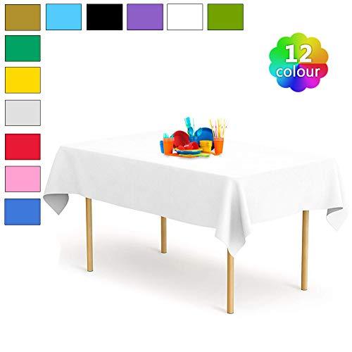 YANGTE Einweg Tischdecke aus Kunststoff 4 Stück,Weiß Plastik Tischtuch Rechteck 137x274cm für Tische im Indoor und Outdoor Partys, Garten, Geburtstage, Hochzeiten, Weihnachten
