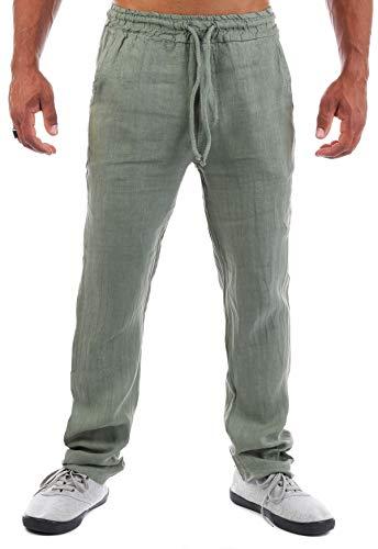 Young & Rich Herren Leinenhose Sommerhose 100% Leinen mit Kordelzug Straight Regular Fit S4103, Grösse:XXL, Farbe:Oliv
