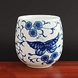 4 pezzi/set Jingdezhen Tazza da tè in ceramica Tazza da tè Caffè dipinta a mano Bicchieri da vino Set da tè blu e bianco Forniture per bicchieri 220ml-chabei, 6.5x7.7cm 220ml