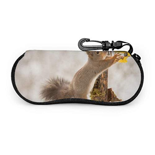 Estuche para gafas Casos de gafas Saltar Peludos Animal Ardilla Caso de Gafas de sol Funda de neopreno con cremallera suave Bolsa protectora para gafas