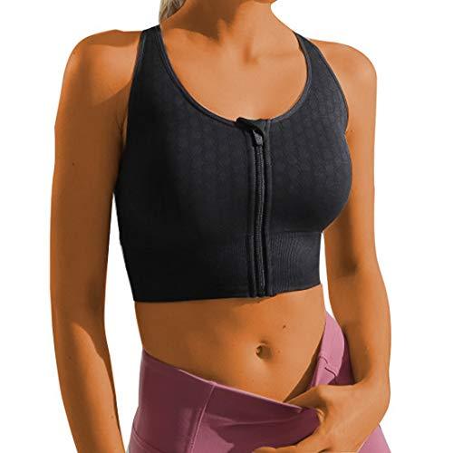 Sujetador Deportivo Mujeres Sports Entrenamiento Bra Cremallera Frontal Almohadillas Extraíbles Alto Impacto para Gimnasio Yoga Running Bra (Negro, M)