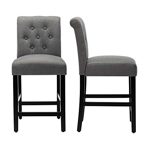 LSSBOUGHT Counter Stools,24 inches Upholstered Barstools with Button-Tufted and Solid Wood Legs Set of 2(Gray)