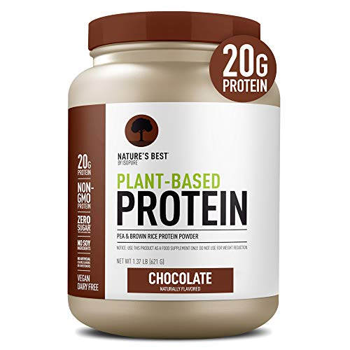 Natures Best Plant Based Vegan Protein Powder by Isopure - Organic Keto Friendly, Low Carb, Gluten Free, 20g Protein, 0g Sugar, Chocolate, 20 Servings