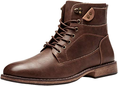 VOSTEY Men's Motorcycle Boots Business Casual Chukka Boot for Men (BMY680B Brown Size 10)