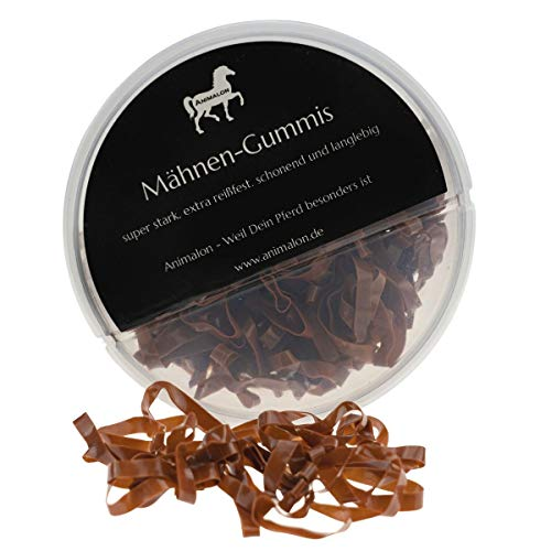 Animalon Mähnengummis aus Silikon | Einflechtgummis für Pferde Frisuren | schonendes Einflechten mit reißfesten Mähnengummis | ideales Tunier Zubehör für Pferde (300 Stück, Braun)