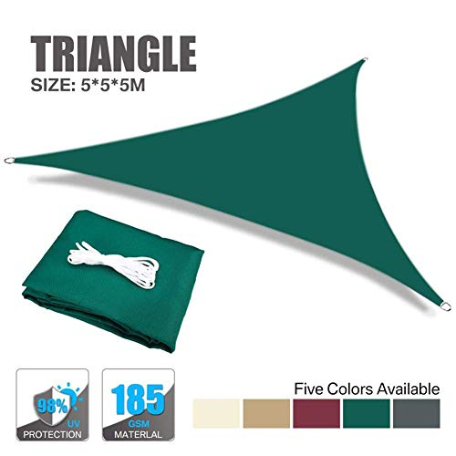 Garden Sun Shade Sail Triangle 5X5X5M 98% UV Block Water Resistant Sunscreen Canopy Awning with Rope for Outdoor Patio Garden, Green, 5X5X5M