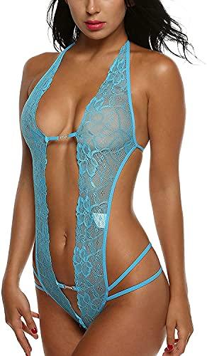 Beauty7 Mujeres Ropa Interior Conjunto Sexy Lencería Encaje Espalda Abierta Teddy Lencería Erótica Mini Lingerie Babydoll de Una Pieza