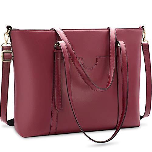 NUBILY Handtasche Shopper Damen Groß 15.6 Zoll PU Leder Shopper Rotwein Laptop Umhängetasche Gross Business Aktentasche Frauen Retro Schule Taschen