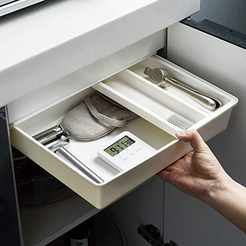 Versteckte selbstklebende Schublade für unter den Schreibtisch, ohne Löcher unter dem Tisch, Aufbewahrungsschublade zum Aufhängen, für Büro, Zuhause, Schule