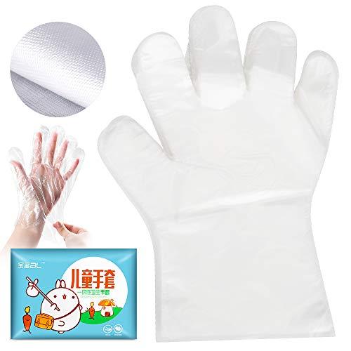 Guantes desechables para limpieza de alimentos, transparentes, guantes de plástico para niños de 4 a 8 años/estudiantes (100 unidades)