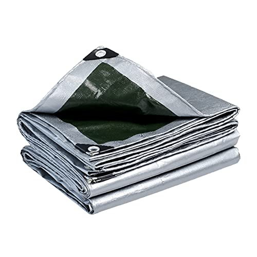 Lona alquitranada Lona Impermeable Resistente, Cubierta de Lona Multiusos Gris de 2/3/4/5/6 m de Ancho para Muebles, Madera, Coches, Barcos, Piscinas con Protección UV (Size : 5×8m/16.4×26.2ft)