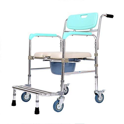Kommode Stuhl mit Rädern - Duschstuhl wasserdichtes Aluminium tragbare Nacht Kommode Bad WC Stuhl, verstellbare Dusche Transportstuhl (4 Räder)