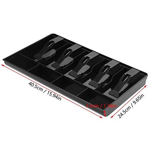 Cajón de efectivo, diseño portátil extraíble ampliamente aplicable, tamaño compacto hasta cajón con bandeja de monedas para cambio suelto para cajas de efectivo (negro)