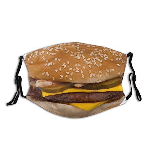 Cheeseburger Hamburger Cheese Pickle Pm2.5 Bandanas Dust Mask M-Shaped Nose Clip Equipped with Two Replaceable Activated Carbon Filters for Men & Women Party Cosplay