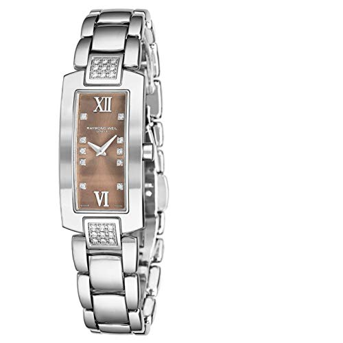Raymond Weil Shine Womens Rectangular Diamond Watch - Swiss Made Brown Face with Sapphire Crystal - Stainless Steel Band with Additional Black Satin Leather Band Rectangle Quartz Watch 1500-ST3-00775