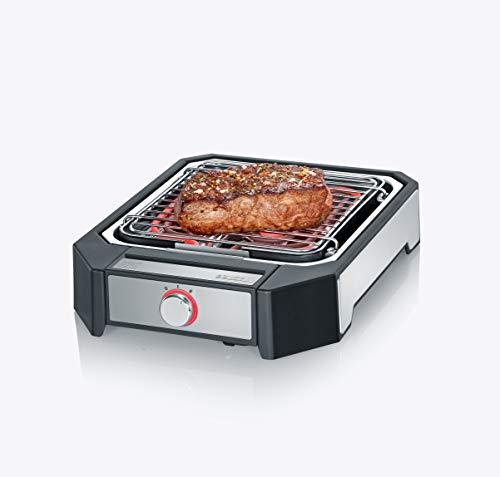 SEVERIN PG 8545 Steakboard (2.300 W, Max. 500°C, 2 Leistungsstufen, Grillfläche 23x25,5 cm) schwarz