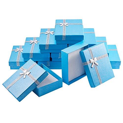 BENECREAT 12 Pack Cajas de Regalo Caja de Presentacion de Joyas para Collar Pendientes Aretes de Aniversarios, Bodas, Cumpleaños Azul -9x7x3cm