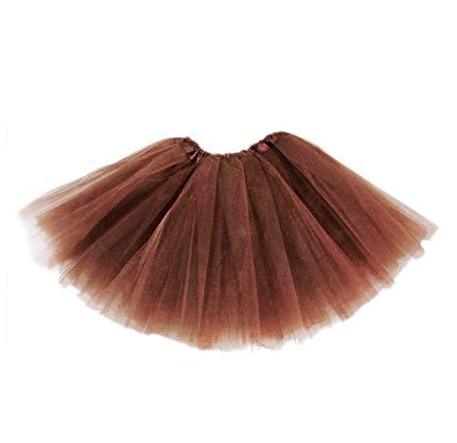 Tutu Elastico Tul 3 Capas 30 CM de Longitud para niña Bebe Distintas Colores Falda Disfraz Ballet (Marron)