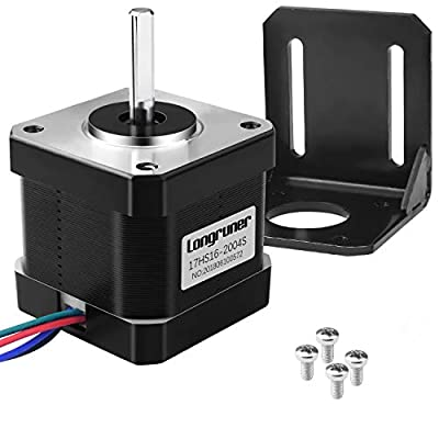 Nema 17 Stepper Motor, Longruner Stepper Motor Bipolar 2A 64oz.in(45Ncm) 42x40mm Body 4-lead w/1m Cable and Connector with Mounting Bracket for 3D Printer Hobby CNC LD08