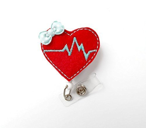 Beating Heart Red and Aqua - Retractable Badge Reel - Cardiac Care Badge - Rn Badge - Nurse Badge Holder - Nursing Badge Clip - Ccu Badge - Alligator Clip