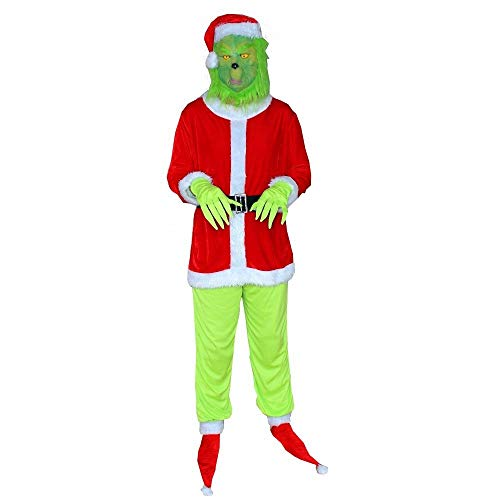 W-life Costumi di Santa Grinch Costume Cosplay Adulto Adulto Halloween Party Fancy Dress Mask Caspetto Prop Furry Santa Suit Autfit (Size : X-Large)