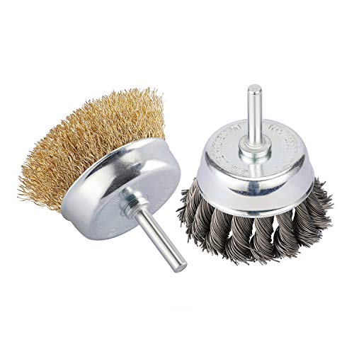 Makitoyo 2pcs Knotted and Crimped Wire Cup Brush with 1/4-Inch Shank for Rust Removal, Corrosion and polishing