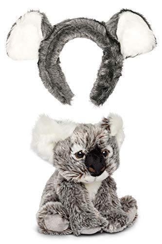 Wildlife Tree Stuffed Plush Koala Ears Headband with Baby Plush Toy Koala Joey Set Bundle for Pretend Play Animals Dress Up