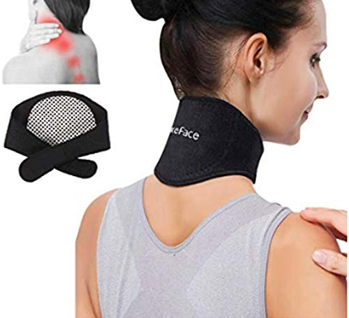 Medical Grade Neck Support Brace Strap for Neck Pain Relief and Bone Relaxer with Self Heating Neck Wrap and Tourmaline Adjustable Cervical Collar for Physical Therapy Arthritis Headaches