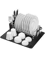 SHAN ZU Afdruiprek, keuken, compact, modern droogrek 304, roestvrij staal, met gebruiksvoorwerp houder en siliconen droogmat, set voor aanrecht in de keuken, 44,7 x 39,6 cm
