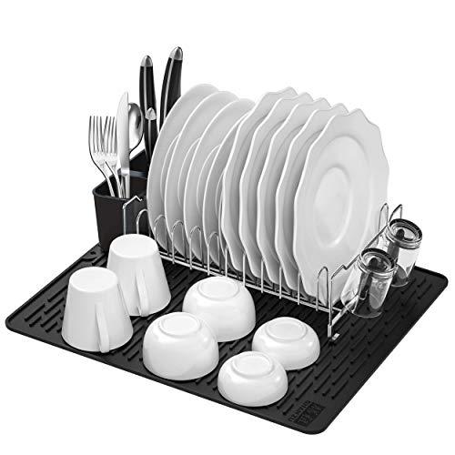 Estante para platos de acero inoxidable SHAN ZU, estante para platos con bandeja de goteo extraíble, portavasos y cubiertos, tapete de secado, secador de platos de cocina multifuncional