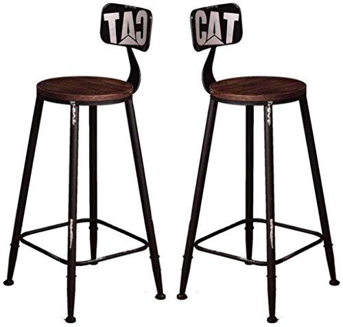 N/Z Tägliche Ausrüstung Hocker 2er-Set Esszimmerstuhl Frühstück Hohe Stühle Theke Freizeitsitz Vintage Retro Barhocker Design Ladekapazität Holz Rustikale Küche Gelb