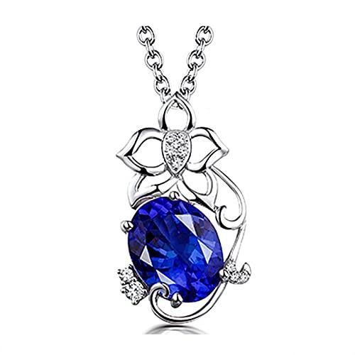 N/A Collar Mujer Azul Cristal Pétalo Colgante Regalo para Ella