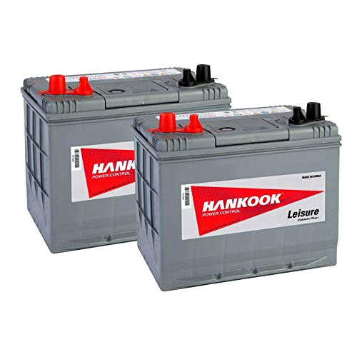 2x Hankook MV24 12V 72Ah Batterie Décharge Lente Pour Loisir, Caravane, Camping Car, Bateau - 257x172x220mm
