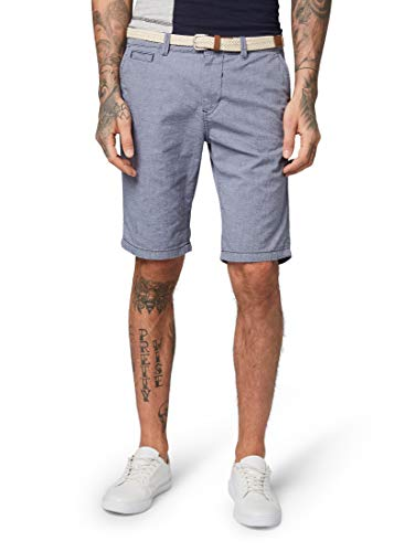 TOM TAILOR Denim Herren Baumwoll Chino Shorts, Blau (Black Iris Blue 10334), Medium