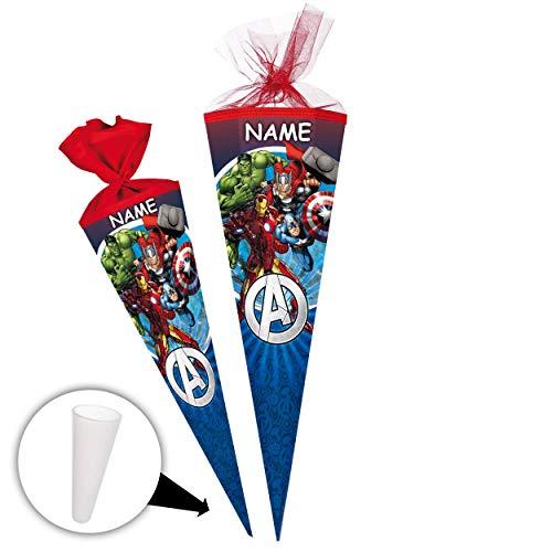 alles-meine.de GmbH Schultüte -  The Avengers - Assenble Avenger  - 85 cm - eckig - incl. Name - Tüllabschluß - Zuckertüte - mit / ohne Kunststoff Spitze - Nestler - Jungen - I..