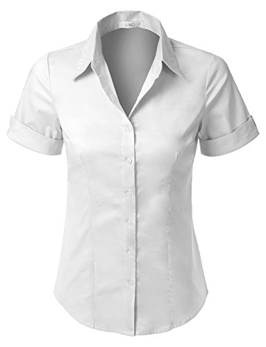 LE3NO Womens Short Sleeve Button Down Shirt with Stretch,L3nwt575a_white,Large