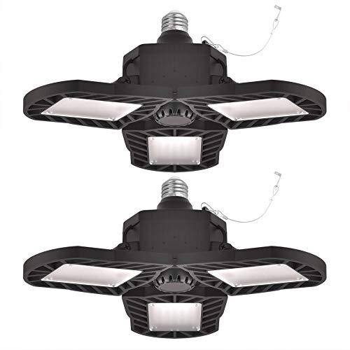 Juego de 2 luces LED deformables para garaje E26, 60 W, 7500 lúmenes, luz LED de triple brillo ajustable, 6000 K, color de luz diurna para garaje, trabajo y granero (sin sensor)