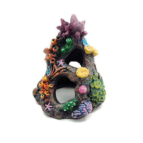 Yimaa - Decoración para acuario, diseño de cueva de coral, gran resina y coral, decoración para el tanque de peces, para peces, paisaje
