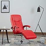 Benkeg Sillón De Masaje Eléctrico De Cuero Artificial Rojo 68 x 137 x 104 cm Sillón Relax De Masaje, 14,4 W con Un Mando A Distancia, Ángulo reclinable 125-130 Grados