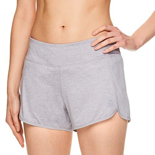 Reebok Women's Athletic Workout Shorts - Gym Training & Running Short - 3 Inch Inseam - Mara Silver Sconce Heather, Large