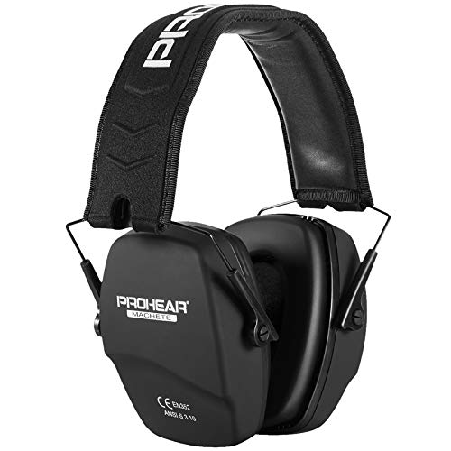 PROHEAR 016 Ear Protection Safety Earmuffs for Shooting, NRR 26dB Noise Reduction Slim Passive Hearing Protector with Low-Profile Earcups, Compact Foldable Ear Defenders for Gun Range, Hunting (Black)