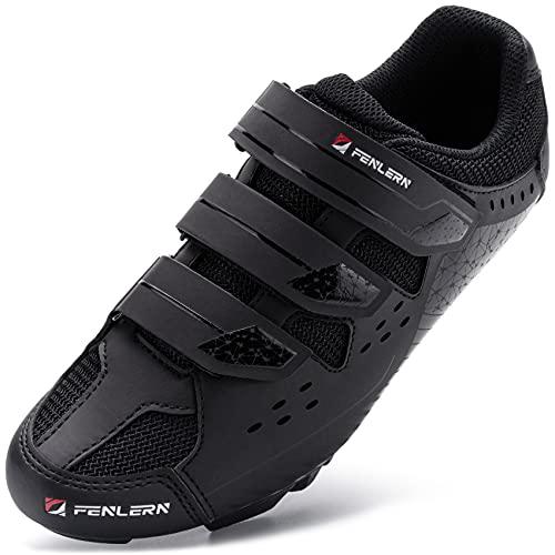 URDAR Zapatillas de Ciclismo Hombre Calzado Deportivo de MTB Montaña Antideslizante Transpirable Calzado Ciclismo(Negro,40 EU)